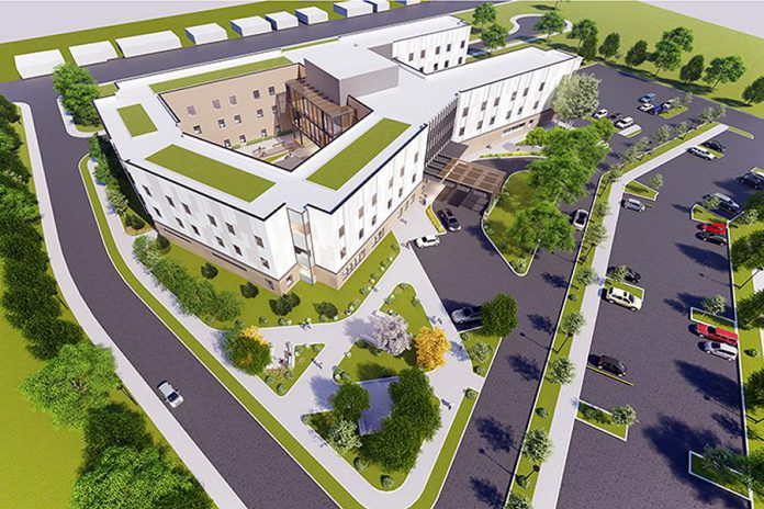 A bird's eye view of OMNI Health Care's proposed development for the new Riverview Manor in Peterborough, from February 2019. (Rendering: G architects)