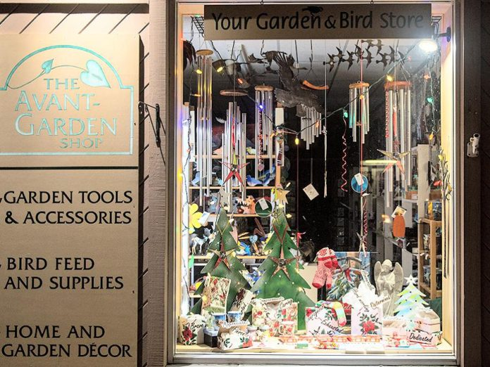 The holiday window at The Avant-Garden Shop at 165 Sherbrooke Street in downtown Peterborough.  Offering home and garden décor, gardening accessories, and backyard birding supplies, The Avant-Garden Shop is one of more than 140 local shops, restaurants, and services listed at theboro.ca if you prefer to do your local holiday shopping online. The Avant-Garden Shop also offers gift cards. (Photo courtesy of Peterborough DBIA)