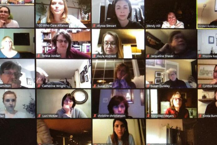 Some of the members of 100 Women Peterborough participating in a Zoom call on December 15, 2020, when they voted to donate member-raised funds to Community Counselling and Resource Centre in Peterborough. (Photo courtesy of 100 Women Peterborough)