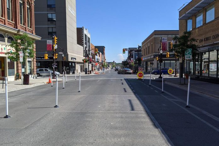 Downtown Peterborough was reconfigured in the summer of 2020 to help create more space for pedestrians, restaurant patios, and pop-up commercial space during the pandemic. (Photo: Bruce Head / kawarthaNOW.com)
