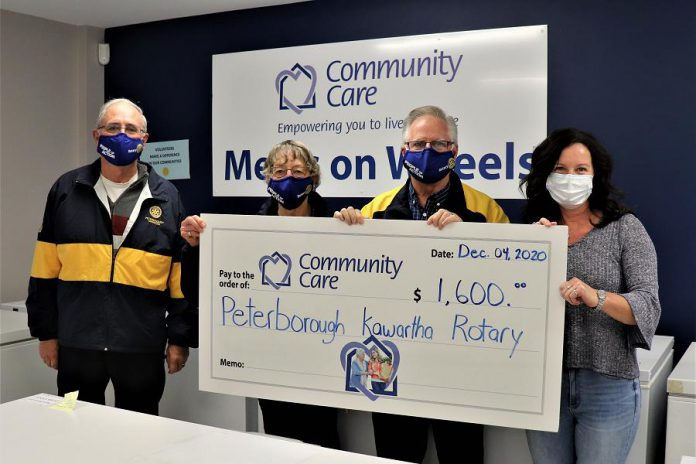 The Rotary Club of Peterborough Kawartha presents a cheque for $1,600 to Community Care Peterborough. (Supplied photo)