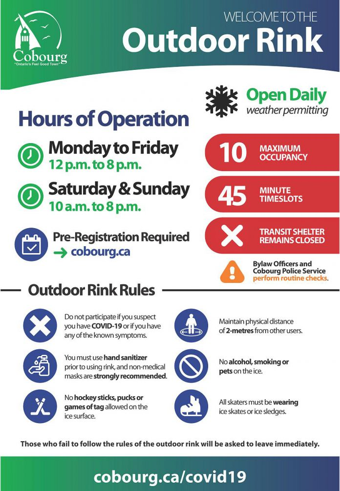 The new rules for the Rotary Harbourfront Outdoor Rink in Cobourg come into effect on December 26, 2020. (Graphic: Town of Cobourg)