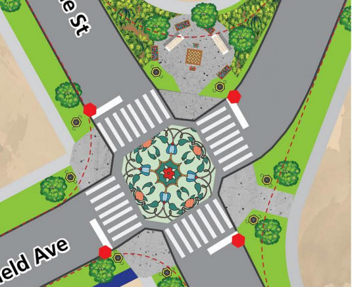 The dashed lines in this illustration from the Jackson Park and Brookdale vision document shows the unusually large intersection of Chesterfield Avenue and Downie Street as it is now, and how the intersection could be resdesigned with curb extensions, more community green space, and shorter crossing distances. (Illustration by Frolic Art and Designs for GreenUP)