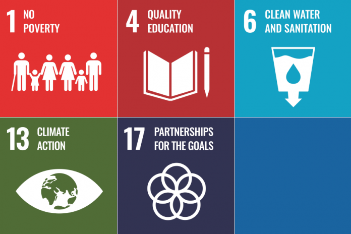 In Peterborough, the Kawartha World Issues Centre and GreenUP are working together to advance the 2030 Agenda locally, focusing on five of the 17 goals: ending poverty, providing quality education, clean water and sanitation, climate action, and partnerships with Indigenous peoples. (Graphics: United Nations)