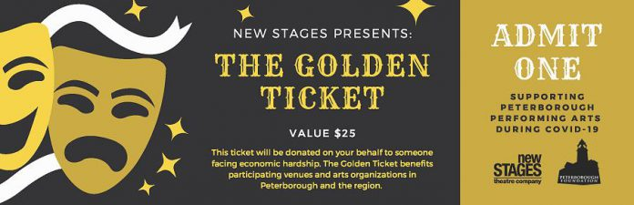 """Each New Stages """"Golden Ticket"""" purchased by supporters will be donated on their behalf to someone facing economic hardship. (Graphic: New Stages Theatre Company)"""