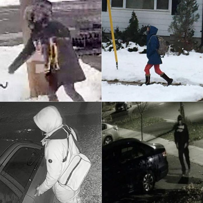 Some photos of suspected porch pirates and car hoppers posted by members of the East City Ptbo and Catch a Car Hopper Peterborough groups on Facebook. (Facebook photos)