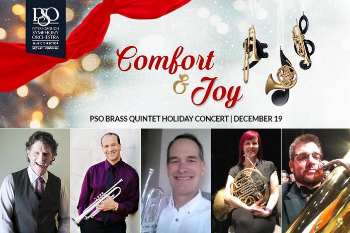 """The Peterborough Symphony Orchestra's Brass Quintet will perform """"Comfort and Joy"""", an online holiday concert from the stage at Showplace Performance Centre in downtown Peterborough on December 19, 2020. The PSO Brass Quintet will feature Michael Newnham on trombone, Paul Otway on trumpet, Doug Sutherland on trumpet, Jane Mackay on horn, and Al Carter on tuba."""