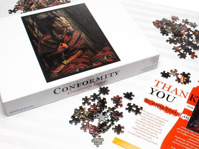 Peterborough-based PuzzQuest is working with undiscovered photographers, illustrators, and artists around the world to create fun and original jigsaw puzzles for adults. A portion of the proceeds from each puzzle sold will go back to the artist and a portion to the arts community. PuzzQuest's first puzzle is Conformity, an expert-level 1,000-piece puzzle based on one of owner George Gill's own art creations. (Photo courtesy of PuzzQuest)
