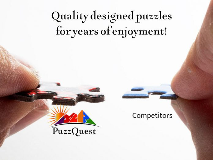 The quality of PuzzQuest's puzzles makes them stand out in the industry. The company controls every step of a sophisticated manufacturing process from design to packaging to shipping.  Made from recycled paper and coated in a UV oil varnish, the individual pieces are punched at precise tolerances.  (Photo courtesy of PuzzQuest)