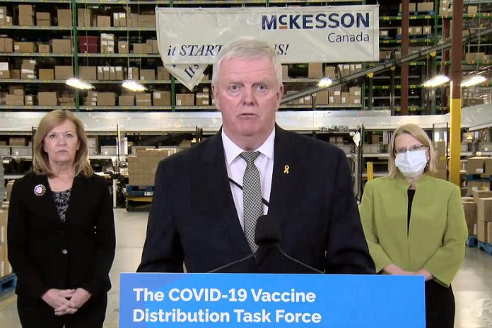 Retired general Rick Hillier, chair of Ontario's vaccine distribution task force, speaks at a media conference at pharmaceutical distribution company McKesson Canada in Brampton on December 1, 2020. (CPAC screenshot)
