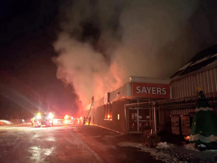 Sayers Foods in Apsley was engulfed in flames in the early morning of December 5, 2020. (Photo: Sayers Foods / Facebook)