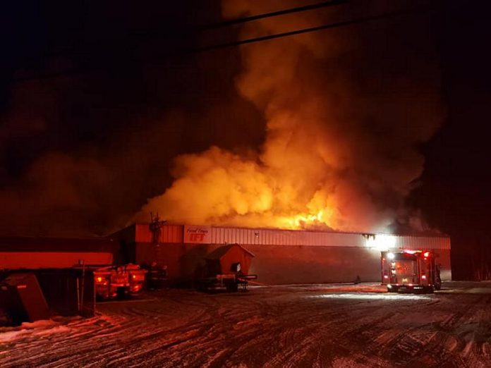 Based on photographs of the fire at Sayers Foods in Apsley in the early morning of December 5, 2020, it appears the building is damaged beyond repair.  (Photo: Sayers Foods / Facebook)