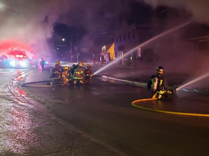 Firefighters with the North Kawartha Fire Department battling flames engulfing Sayers Foods in Apsley in the early morning of December 5, 2020. (Photo: Sayers Foods / Facebook)