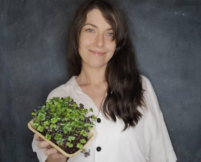 Stephanie Hendren runs Peterborough Microgreens with her partner Daniel Etmanski. They've launched an online store supplying microgreens products from her family-owned, sustainable urban farm in the west end of Peterborough. Hendren was one of the 10 women who took part in the first cohort of the Innovation Cluster's Women Breaking Barriers program. (Photo courtesy of the Innovation Cluster)
