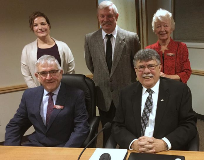 As well as serving as Peterborough County Warden, J. Murray Jones is mayor of Douro-Dummer Township. Pictured in 2018 is Jones (front right) with deputy mayor Karl Moher (front left) and (back row) councillors Heather Watson, Tom Watt, and Shelagh Landsmann. (Photo: Douro-Dummer Township)
