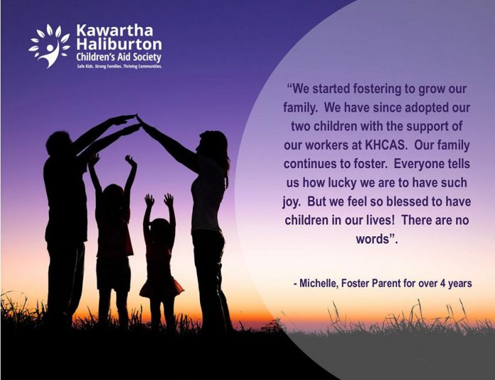 "Foster parents share their reasons and experiences with fostering in the Kawartha-Haliburton Children's Aid Society's ""Fostering Changes Futures"" campaign, which aims to identify and train 10 new local foster families provide safe and nurturing homes for children and youth. (Graphic courtesy of the Kawartha-Haliburton Children's Aid Society)"