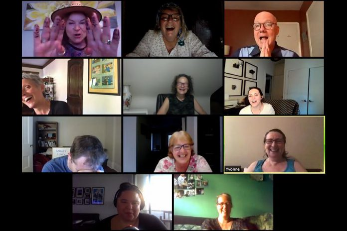 klusterfork's Linda Kash (top left) during a six-week improv intensive series on Zoom this past summer, when a group of 10 students enjoyed live and interactive online classes from Canadian entertainment industry pros. Starting January 18, 2021, klusterfork is offering another round of workshops featuring industry pros including Lisa Merchant, Steve Ross, Michael Walters, Wendy Hopkins, Brent Haynes, and more. (Photo courtesy of klusterfork)