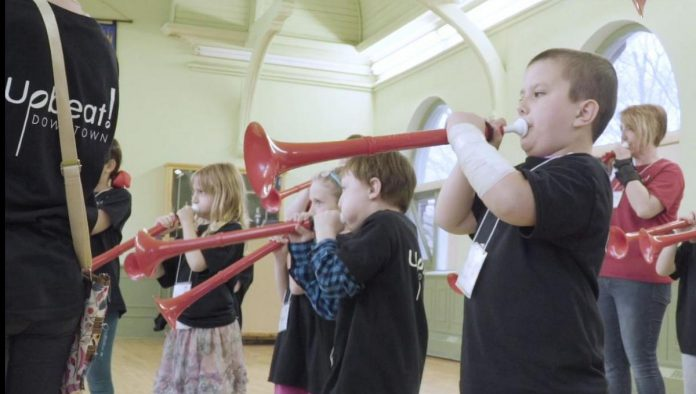 Kids participating in a 2019 four-week pilot of the Kawartha Youth Orchestra's Upbeat Downtown after-school music program for at-risk children ages six to 12 in Peterborough. The program is slated to launch in fall 2021.  (Photo courtesy of Kawartha Youth Orchestra)