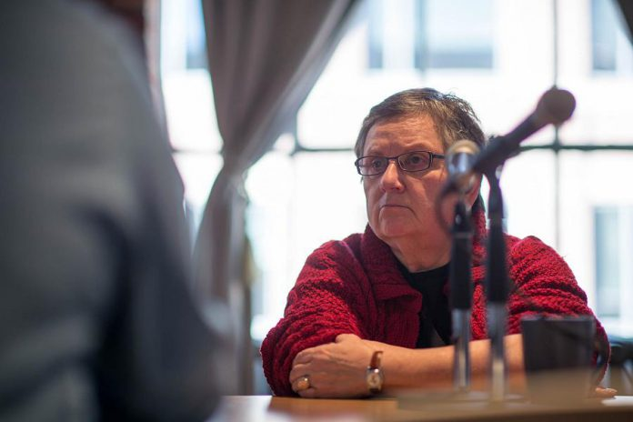 Renowed Toronto theatre critic and writer Lynn Slotkin participating in a theatre criticism roundtable hosted by Intermission Magazine in 2017. Slotkin's work has appeared in The Globe and Mail, the Toronto Star, Performance Magazine, How Theatre Educations, and the Hollywood Reporter, as well as on CBC and TV Ontario. (Photo: Dahlia Katz)