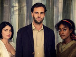 Eve Hewson, Tom Bateman, and Simona Brown are in a love triangle in the British psychological thriller Behind Her Eyes, based on the 2017 novel of the same name by Sarah Pinborough. The six-part series premieres on Netflix on February 17, 2021. (Photo: Netflix)
