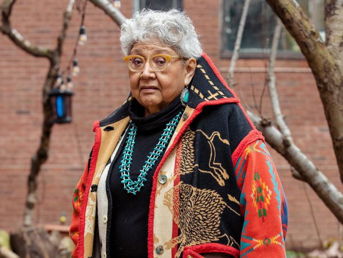 Muriel Miguel, a founder of the feminist Native American collective Spiderwoman Theater, is considered a grandmother of the Indigenous theatre movement in the United States and Canada. Along with Drew Hayden Taylor, she has agreed to be a mentor for the Nogojiwanong Indigenous Fringe Festival in Peterborough. (Photo: Annie Tritt for The New York Times)