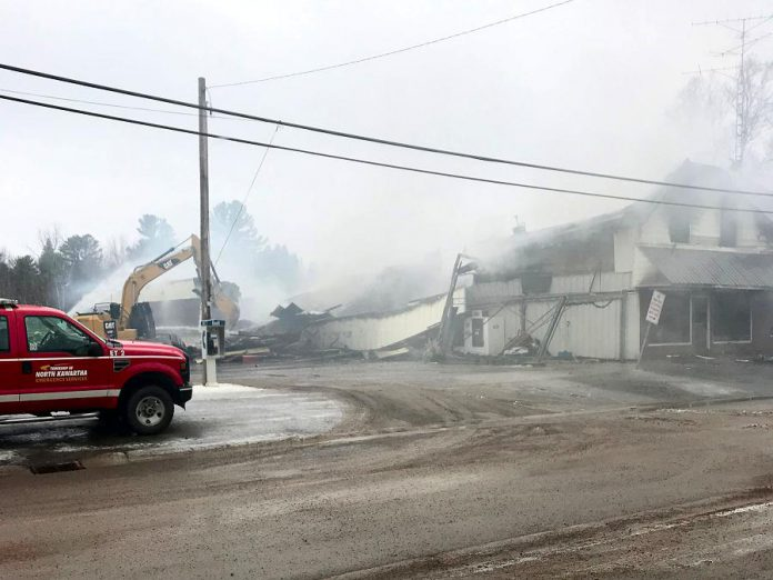 On December 5, 2021, a fire raged through Sayers Independent Food Town in Apsley, destroying the town's only grocery store that also served the residents of North Kawartha Township. The Sayers family intends to rebuild and reopen. (Photo courtesy of North Kawartha Food Bank)