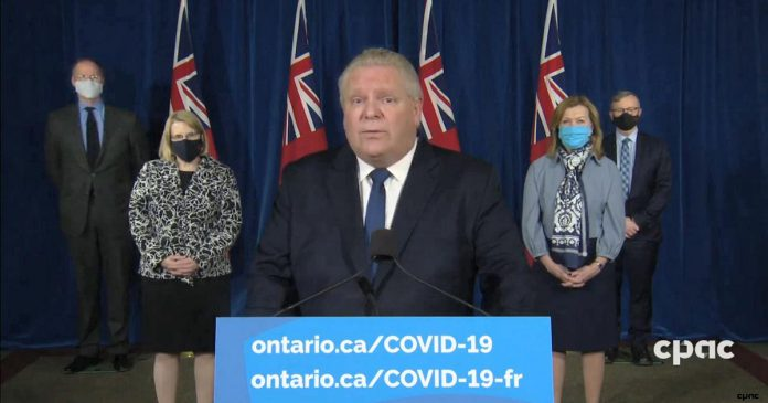 Ontario Premier Doug Ford announced a state of emergency for Ontario at a media conference at Queen's Park on January 12, 2021. (CPAC screenshot)