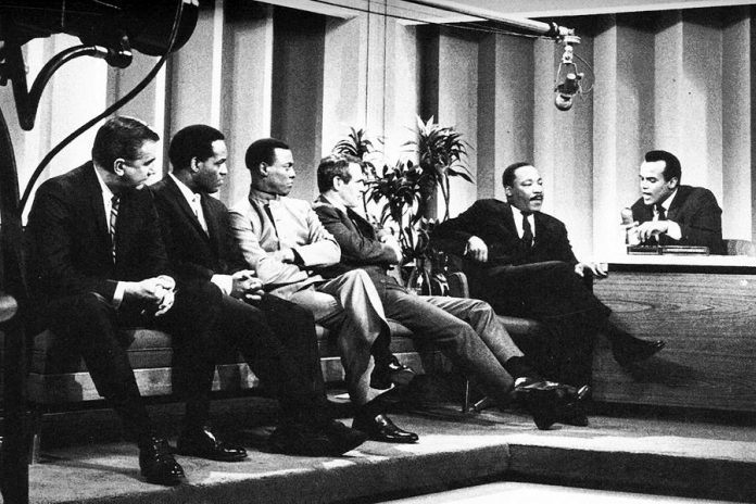 "In early 1968, as riots rocked American cities and the Vietnam War escalated, the legendary entertainer and activist Harry Belafonte took over `The Tonight Show' from Johnny Carson for one week, with guests including Bobby Kennedy, Aretha Franklin, Rev. Dr. Martin Luther King Jr., and Sidney Poitier. This historic event is documented in ""The Sit In: Harry Belafonte Hosts the Tonight Show"", available for streaming at the virtual ReFrame Film Festival from January 22 to 29, 2021. (Photo courtesy of ReFrame)"