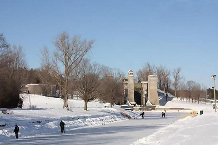 Skaters on the Trent canal south of the Peterborough Lift Lock in 2016. The canal will be open for skating once city crews have finished clearing snow and preparing the ice surface. COVID-19 health and safety protocols will be in effect once the canal is open for skating; check for the green flag. (File photo)