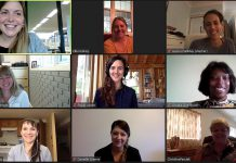Rosalea Terry (top left), lead for the Innovation Cluster's Women Breaking Barriers program, in a Zoom session with some of the 10 female founders in the first cohort of the program. The next six-month cohort of Women Breaking Barriers begins on March 1, 2021, with applications for the next 10 female founders open until February 12. (Photo courtesy of Innovation Cluster)