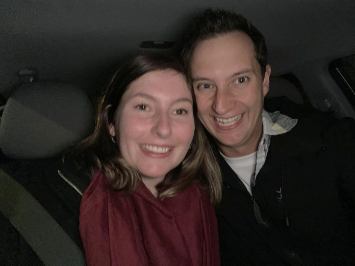 Matt and Jill were set up by family members in October 2020. The pair talked on Facebook for two weeks before meeting safely outside a Starbucks for their first date. (Supplied photo)