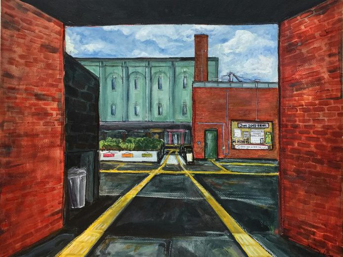 """Bethany LeBlonc's """"Allies for Alleys"""", which imagines a sustainable gathering space in Peterborough where an inaccessible alley once lived, is part of the Post Code Tour virtual exhibition on Instagram, presenting during Artsweek SHIFT in the fall and winter of 2020. One component of Artsweek SHIFT<sup>2</sup> will provide funding of up to $3,000 for artists and artist groups creating COVID-safe public presentations of artistic work between March and May 2021. (@post_code_tour / Instagram)"""