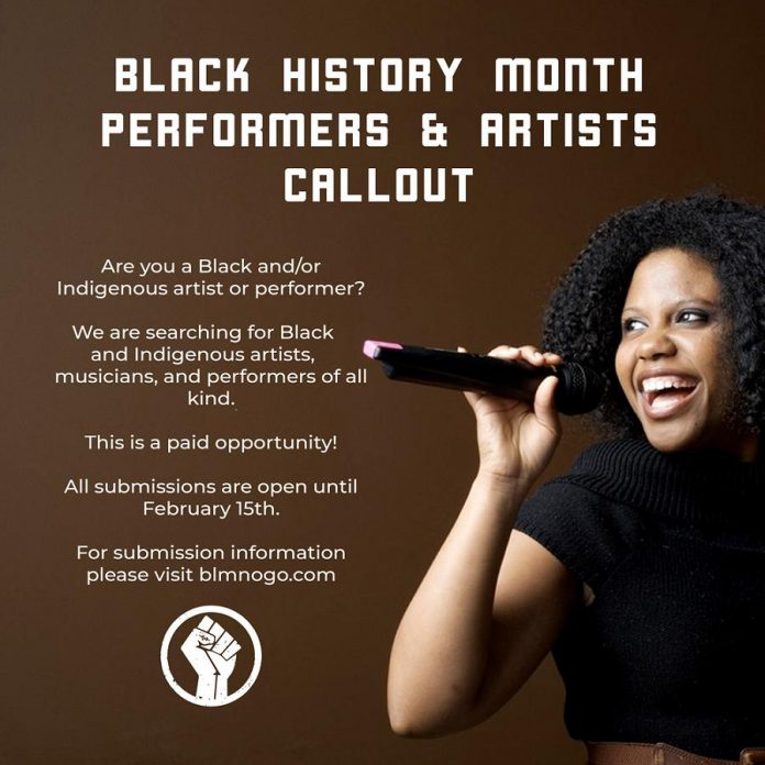 In recognition of the oppression experience by Indigenous people, Black Lives Matter Nogojiwanong is accepting submissions from both Black and Indigenous artists and performers for the virtual Black History Blowout event. The deadline for submissions is February 15, 2021.  (Graphic: Black Lives Matter Nogojiwanong)