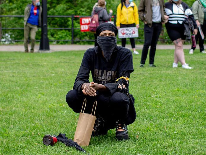 Said Jiddawy, pictured at the Black Lives Matter march in Peterborough in June 2020, is a local artist, activist, and member of the Black Lives Matter Nogojiwanong board. (Photo courtesy of Black Lives Matter Nogojiwanong)