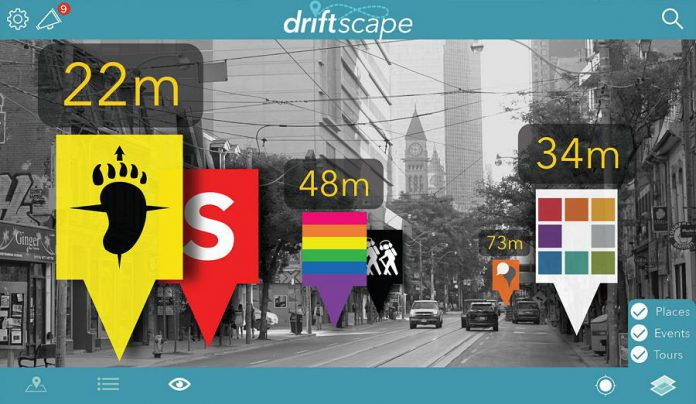 The City of Toronto on the Driftscape augmented reality tourism app. (Photo courtesy of Driftscape)