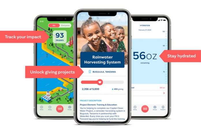The free Fill it Forward app, available on the Apple App Store and Google Play, allows people to track their environmental impact through reuse, monitor the progress of charitable projects supported by Fill it Forward, and set hydration goals and reminders.  (Photo: Fill it Forward)