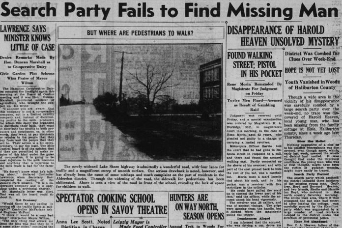 A headline story about Harold Heaven's disappearance from the Hamilton Spectator on November 5, 1934. (Supplied photo)