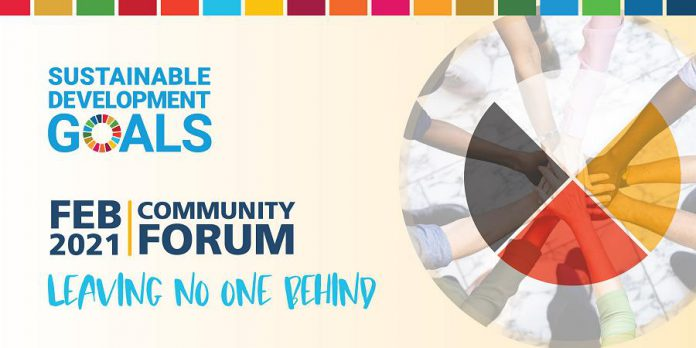 """Hosted by Kawartha World Issues Centre and Peterborough GreenUP, """"Leaving No One Behind"""" is a free  community forum on advancing local action on four of the United Nations' 17 sustainable development goals. It takes place virtually on February 24 and 25, 2021. Register at advancingthesdgscommunityforum.eventbrite.com. (Graphic: KWIC/GreenUP)"""