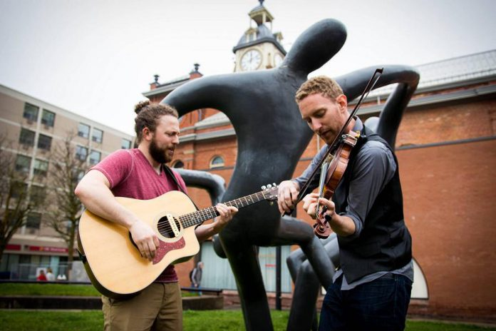 """""""Peterborough Celebrates!"""", a new Facebook group created by local musician Ken Tuck, aims to bring together the arts and business communities to plan a post-pandemic celebration in Peterborough, such as a city-wide event with all different genres of music. Pictured are members of Celtic group Hunt the Hare, who performed in 2018 at the Peterborough Downtown Business Improvement Area's series of outdoor """"Live and Local"""" live music events in downtown Peterborough. (Photo: Peterborough DBIA)"""