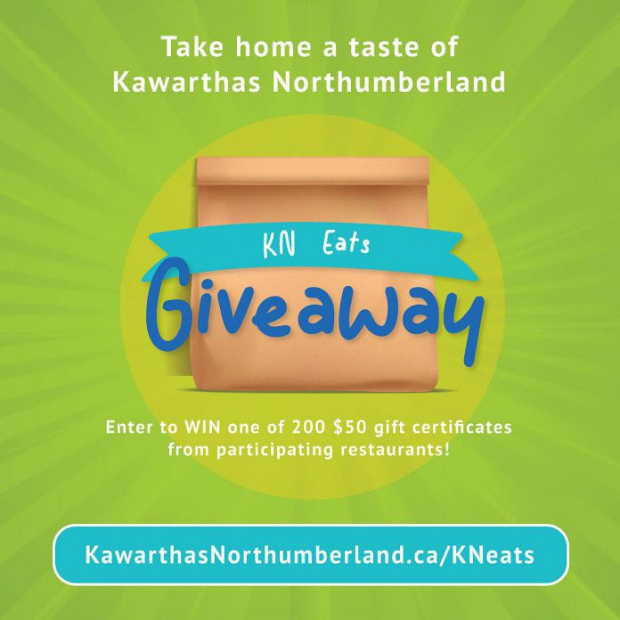 Experience the flavours of Kawarthas Northumberland in the KN Eats Giveaway contest, where you can win one of 200 $50 gift certificates for dinner at a local independent restaurant in the City of Peterborough, Peterborough County, or the City of Kawartha Lakes. Enter the contest at kawarthasnorthumberland.ca/kneats. (Graphic courtesy of Kawarthas Northumberland)