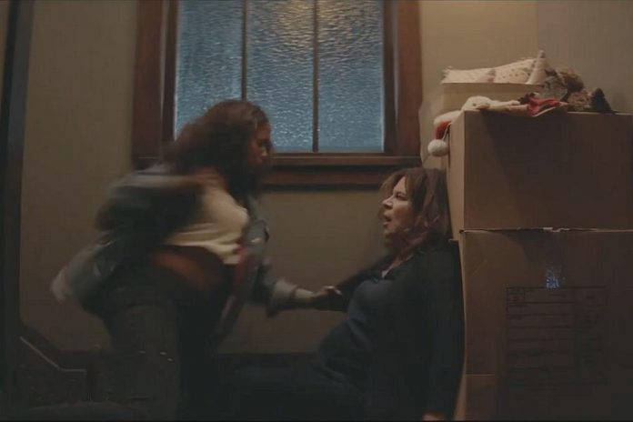"As well as her first role as a villain, ""Batwoman"" offered Peterborough's Linda Kash her very first fight scene. Here she's about to get punched out by Javicia Leslie, who portrays Ryan Wilder/Batwoman. (Screenshot)"