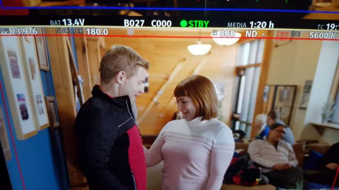 "Peterborough actor Naomi Duvall as ski-mom Margaret Ainsley fawning over champion ski-racer Justin O'Neill (Trevor Donovan) in a deleted scene from the Hallmark feature-length film ""Two for the Win"". (Supplied photo)"