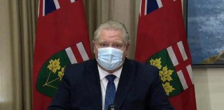 Before a teleconference with Ontario municipal leaders and mayors on February 26, 2021, Ontario Premier Doug Ford comments on Health Canada's approval of AstraZeneca's two COVID-19 vaccines. Later in the day, the province announced changes to the colour-coded levels for nine public health unit regions, including placing Thunder Bay and Simcoe-Muskoka into lockdown status. (CPAC screenshot)