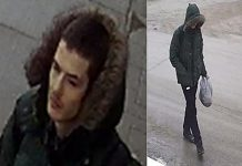 Police are seeking this suspect for an alleged street robbery in Peterborough on February 24, 2021. (Police-supplied photos)