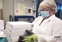 The first shipment of 5,850 doses of Pfizer-BioNTech COVID-19 vaccine arrive at Peterborough Regional Health Centre on February 23, 2021. (Supplied photo)