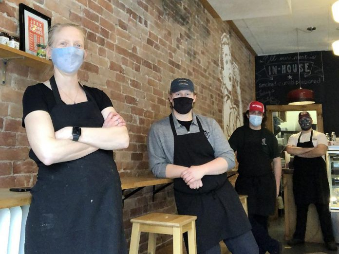 Sam's Place is currently operating on a limited staff of four, including owner Sam Sayer herself (left). Staff are masked and wash their hands and surfaces constantly. (Photo courtesy of Sam's Place)