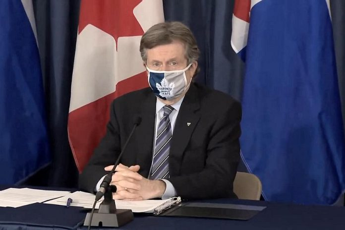Toronto mayor John Tory listening to a reporter's question during a media briefing on February 8, 2021, when Toronto Public Health reported Canada's first known case of the Brazilian variant of COVID-19. (CPAC screenshot)