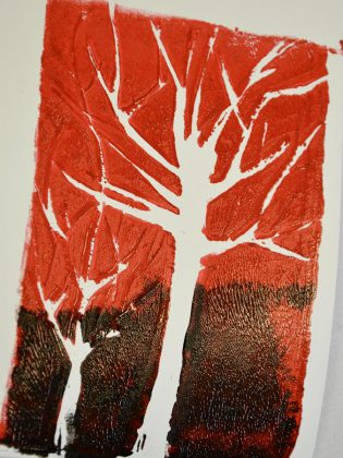 A freshly made piece of art at One City Peterborough's open studio.  (Photo: Sarah McNeilly / kawarthaNOW.com)