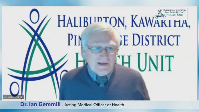 Dr. Ian Gemmill, acting medical officer of health for Haliburton, Kawartha, Pine Ridge District Health Unit, provided a virtual media briefing on the status of the pandemic in Kawartha Lakes, Northumberland, and Haliburton on March 3, 2021. (Screenshot)