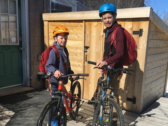 Now that they have checked their bikes (air, brakes and chain), identified their route, and refreshed themselves on the rules of the road, Aaron and Kye are ready for their spring bike to school. Aaron and Kye ready for their spring bike to school. By law, every cyclist under the age 18 in Ontario must wear an approved helmet. Helmets should be in good condition and fit properly.  (Photo: Jackie Donaldson)